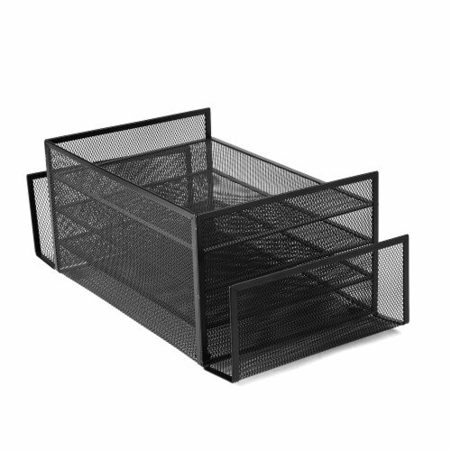 Mind Reader 6-Compartment Desk Organizer - Black Perspective: back