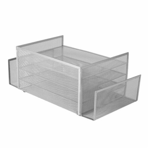 Mind Reader 6-Compartment Desk Organizer - Silver Perspective: back