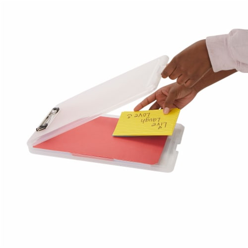 Mind Reader Plastic Clipboards with Portfolio Storage - Clear Perspective: back