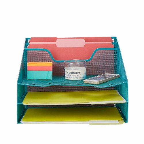 Mind Reader 5 Compartments Desk Organizer Tray - Turquoise Perspective: back