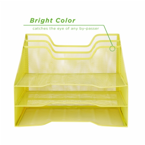 Mind Reader 5 Compartments Desk Organizer Tray - Yellow Perspective: back