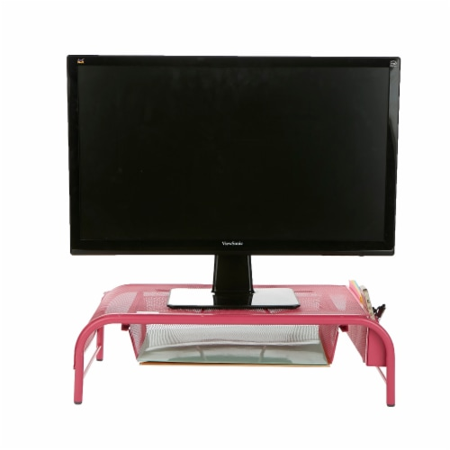 Mind Reader Metal Mesh Monitor Stand and Desk Organizer with Drawer - Pink Perspective: back