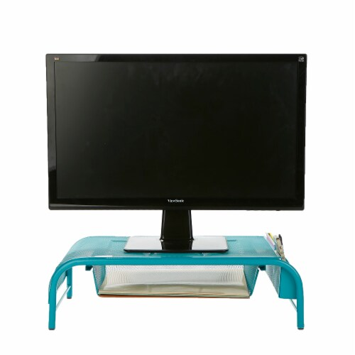 Mind Reader Metal Mesh Monitor Stand and Desk Organizer with Drawer - Turquoise Perspective: back