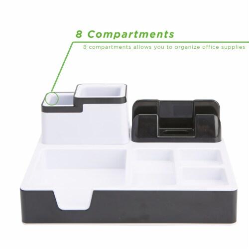 Mind Reader Desk Supplies Organizer with USB Port Charging Station Perspective: back