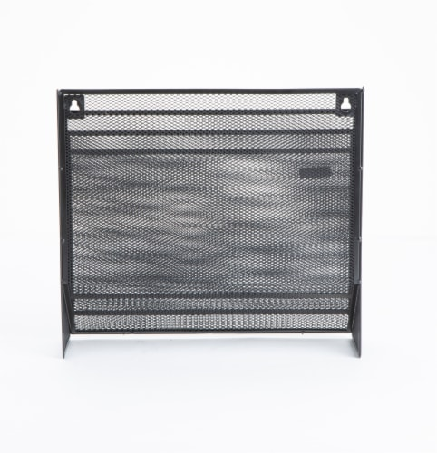 Mind Reader 3-Tier Mesh Free Standing and Wall File Holder - Black Perspective: back