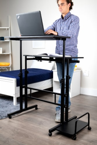 Mind Reader Large Rolling Sitting and Standing Reversible Workstation Desk - Black Perspective: back
