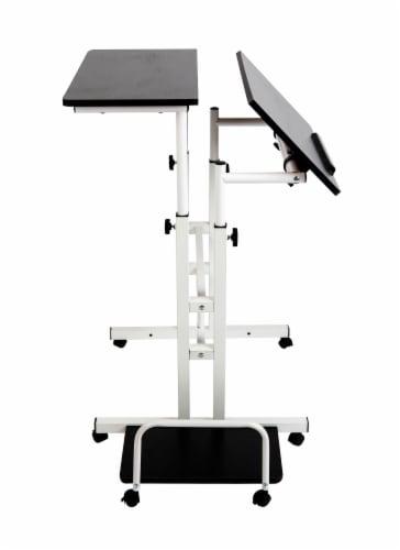 Mind Reader Rolling Sitting and Standing Reversible Workstation Desk - Black/White Perspective: back