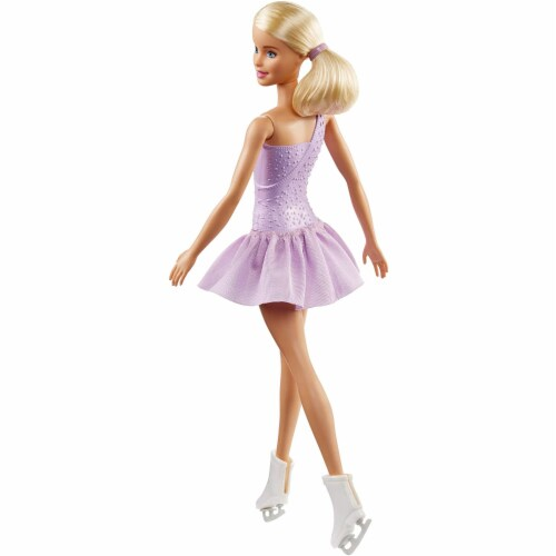 Barbie Figure Skater Doll Dressed in Purple Outfit Perspective: back
