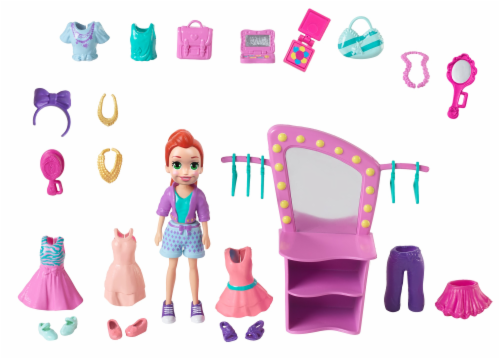 Mattel Polly Pocket Fiercely Fab Studio Pack Doll & Accessories Perspective: back