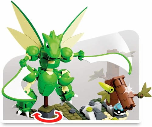 Pokemon Mega Construx 188 Piece Building Set | Slashing Scyther Perspective: back