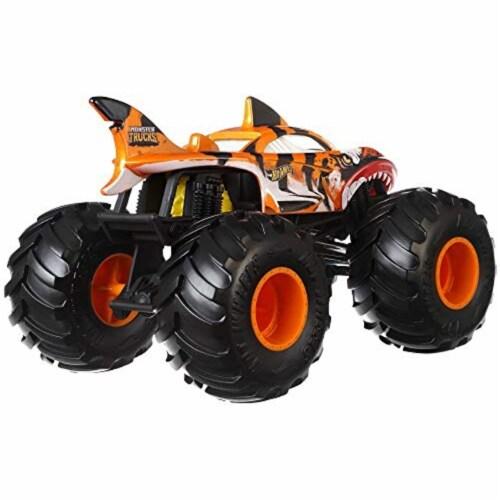 Mattel Hot Wheels® Monster Truck Tiger Shark Vehicle Perspective: back