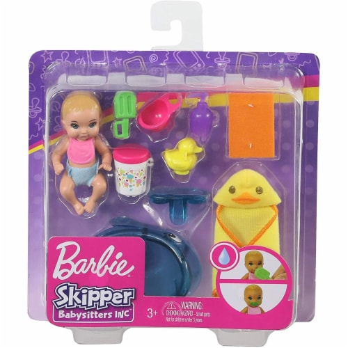 Barbie Skipper Babysitters Inc. Feeding and Bath-Time Playset with Color-Change Baby Doll Perspective: back