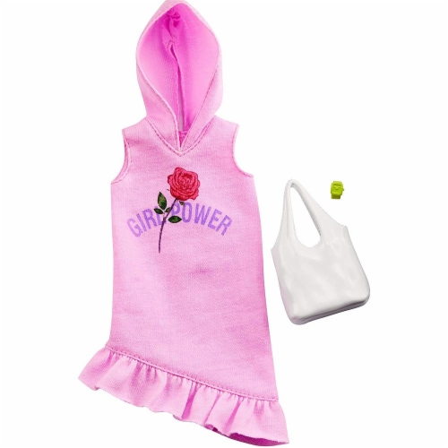 Barbie Clothes: Pink Hoodie Dress, Plus 2 Accessories Dolls, Gift for 3 to 7 Year Olds, GHW77 Perspective: back