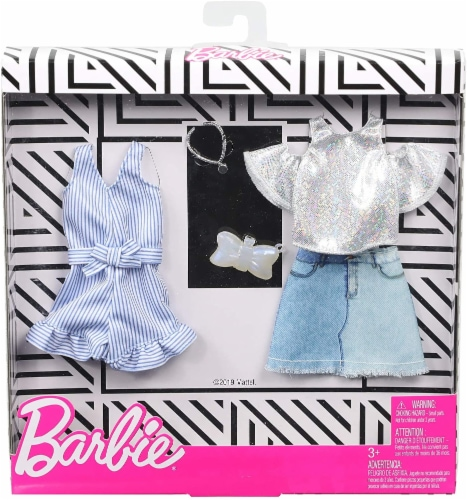 Barbie Shirt, Skirt and Romper with Doll Accessories Perspective: back