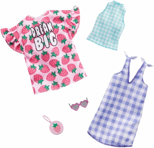 Barbie Dresses Top & Doll Accessories - Strawberry-Print & Gingham Check Perspective: back