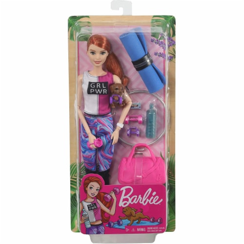 Barbie Fitness Doll, Red-Haired, with Puppy and 9 Accessories, Including Yoga Mat with Strap Perspective: back