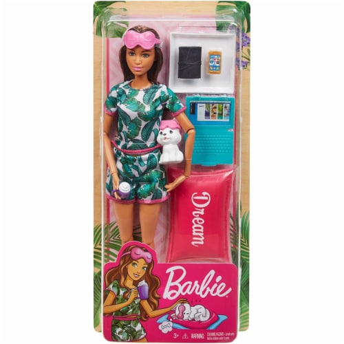 Barbie Brunette Relaxation Doll, with Puppy and 8 Accessories Perspective: back