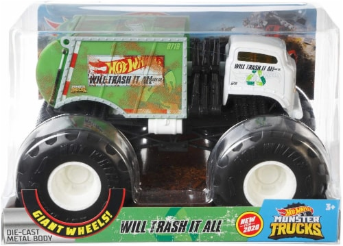 Mattel Hot Wheels® Monster Trucks Will Trash It All Vehicle Perspective: back