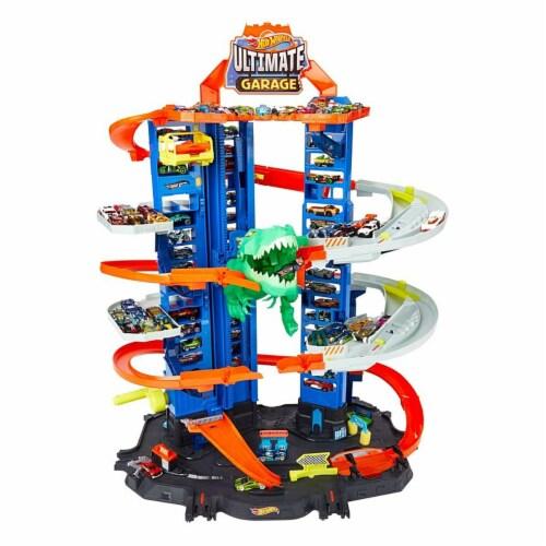 Mattel Hot Wheels® City Ultimate Garage Robo T-Rex Multi-Level Tower Set Perspective: back