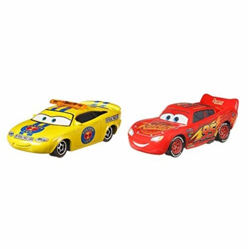 Disney PIXAR Cars Charlie Checker and Lightning McQueen Toy Racers Perspective: back