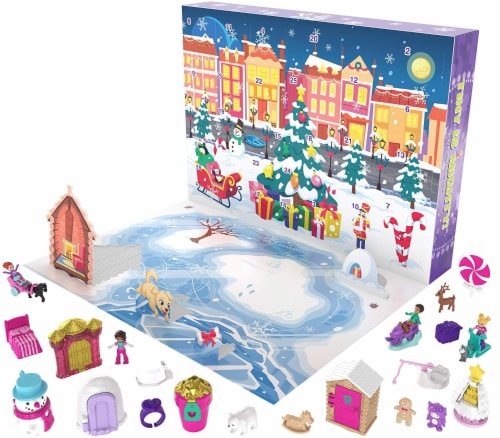 Polly Pocket Advent Calendar Featuring a Winter Wonderland Holiday Theme & 25 Surprises Perspective: back