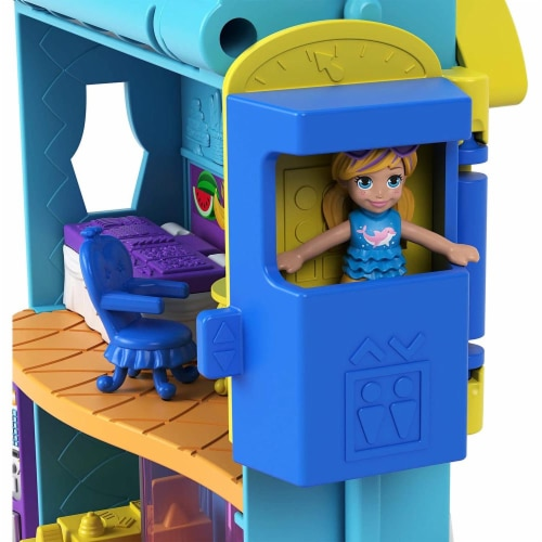 Polly Pocket Pollyville Hotel with 4 Floors of Fun, Micro Polly & Lila Dolls & Accessories Perspective: back