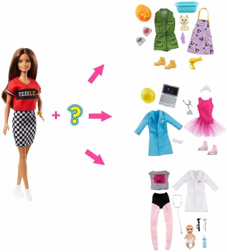 Barbie Doll with 2 Career Looks That Feature 8 Clothing and Accessory Surprises Perspective: back