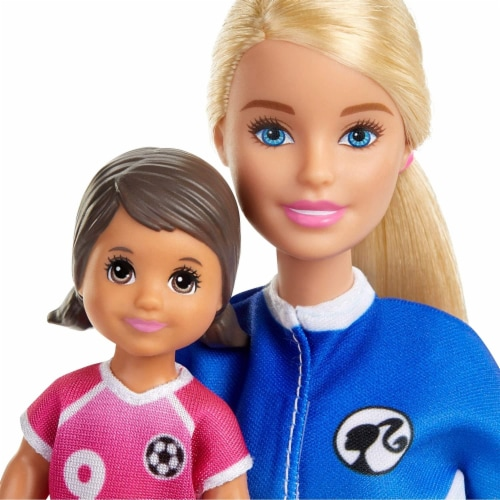 Barbie Soccer Coach Playset w/ Blonde Soccer Coach Doll, Student Doll & Accessories Perspective: back