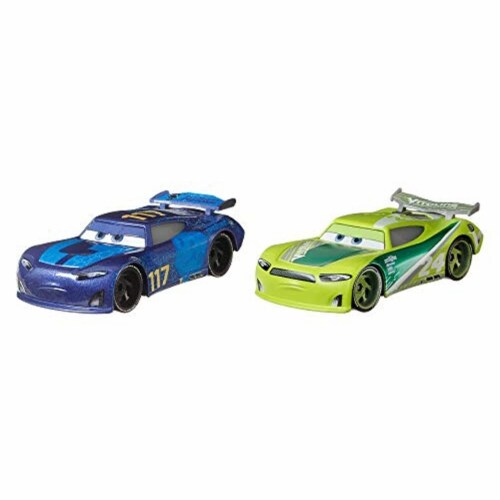 Disney Pixar Cars Spikey Fillups and Chase Racelott Toy Racers Perspective: back