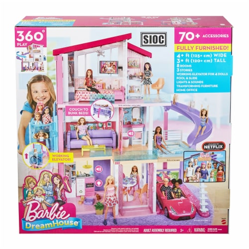 Mattel Barbie Dreamhouse with New Elevator Playset Perspective: back