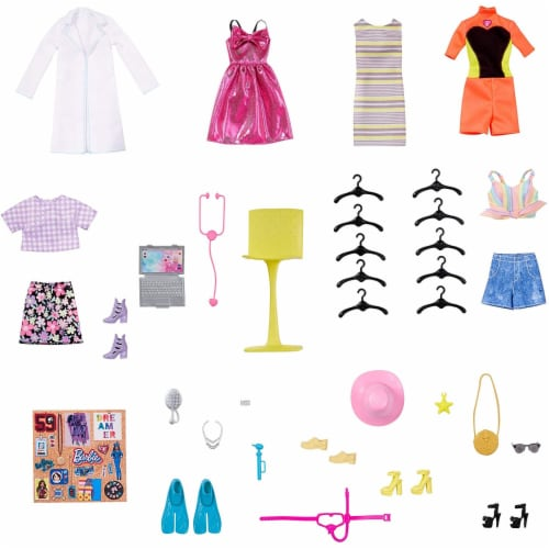 Barbie Dream Closet Fashion Wardrobe Storage with Clothes and Accessories, Pink Perspective: back