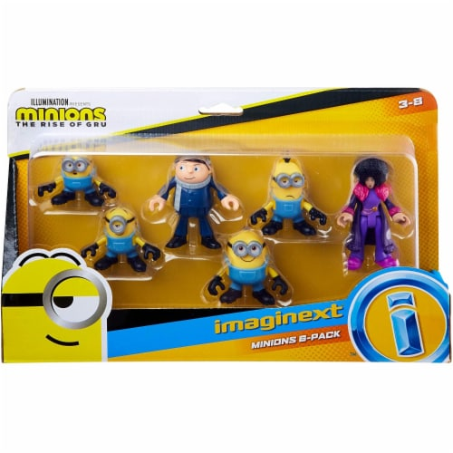 Fisher-Price Imaginext Minions Figure Pack, set of 6 film character figures Perspective: back