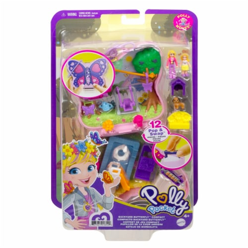 Mattel® Polly Pocket™ Backyard Butterfy Compact Playset Perspective: back