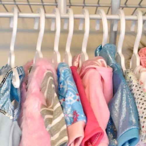 Sophia's by Teamson Kids 7 1/2  White Plastic Hangers 10 Pack Set for 18  Dolls Perspective: back