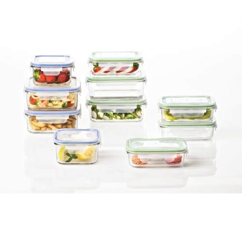 Glasslock Classic 20 Piece Clear Glass Microwave Safe Food Storage Container Set Perspective: back