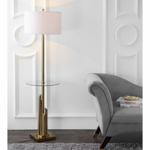 Ambrosio 61-Inch H Floor Lamp Side Table Brass / Gold Perspective: back