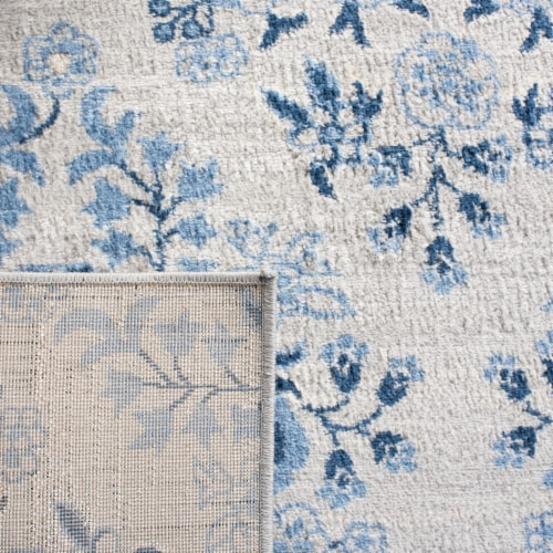 Martha Stewart Brentwood Rug - Cream/Blue Perspective: back