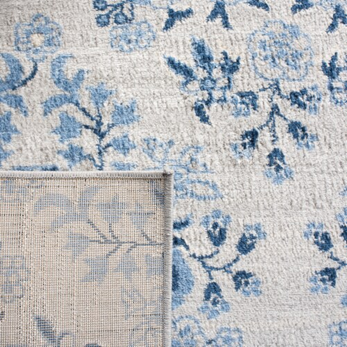 Martha Stewart Collection Brentwood Area Rug - Cream/Blue Perspective: back