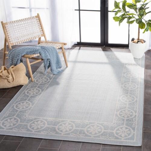 Martha Stewart Courtyard Indoor Outdoor Area Rug - Aqua / Cream Perspective: back