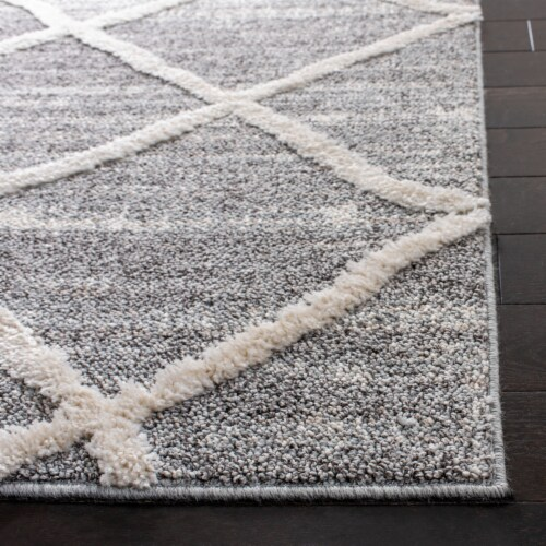 Safavieh Martha Stewart Lucia Shag Area Rug - Light Gray/White Perspective: back