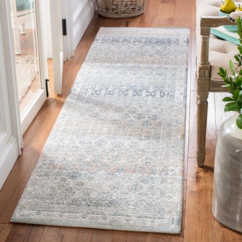 Martha Stewart Maze Cosmopolitan Floor Runner Rug - Cream/Gray Perspective: back