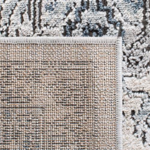 Martha Stewart Dacota Oregon Floor Runner Rug - Light Blue/Ivory Perspective: back