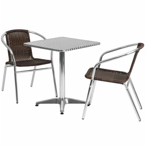 23.5'' Square Aluminum Table Set with 2 Dark Brown Rattan Chairs - TLH-ALUM-24SQ-020CHR2-GG Perspective: back