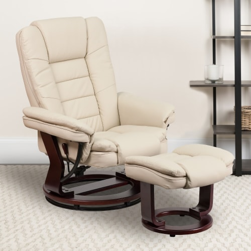 Flash Furniture Leather Recliner in Beige Perspective: back