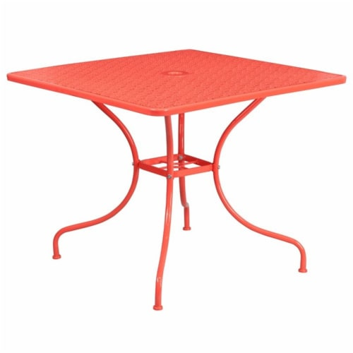 Flash Furniture 35.5  Square Steel Flower Print Patio Dining Table in Coral Perspective: back