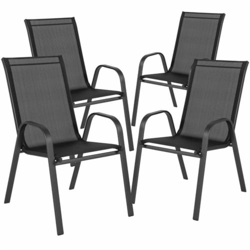 4 Pack Brazos Series Black Outdoor Stack Chair with Flex Comfort Material and Metal Frame Perspective: back