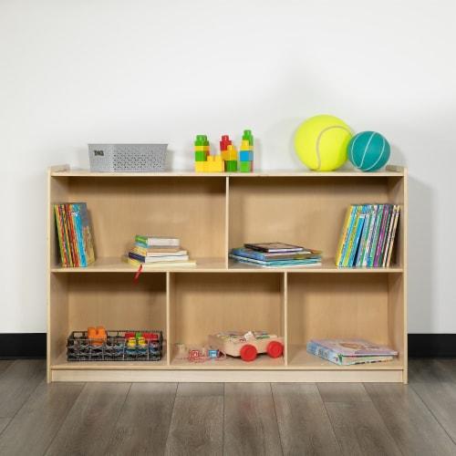 Flash Furniture Wooden 5 Section Storage Cabinet, Kid Friendly Design - 30 Perspective: back