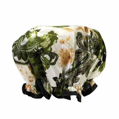 Wrapables Trendy Satin Shower Cap, Paisley Foliage Perspective: back