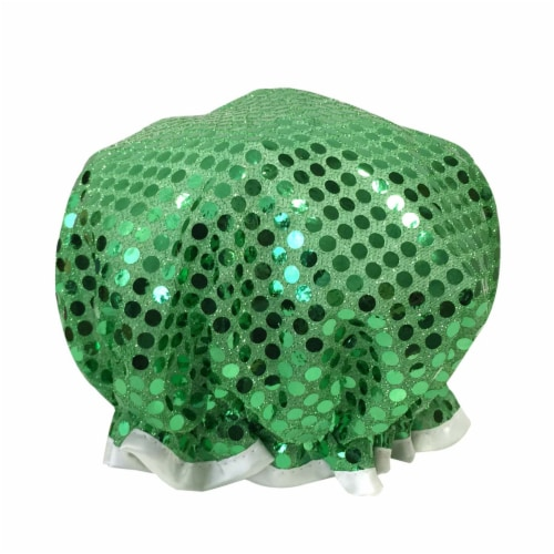 Wrapables Trendy Satin Shower Cap, Green Glitter Perspective: back