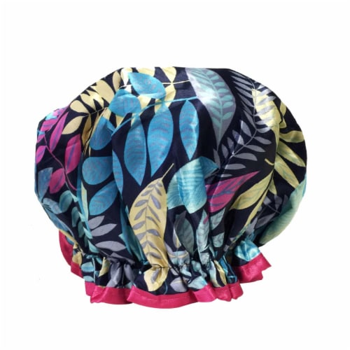 Wrapables Trendy Satin Shower Cap, Twilight Leaves Perspective: back